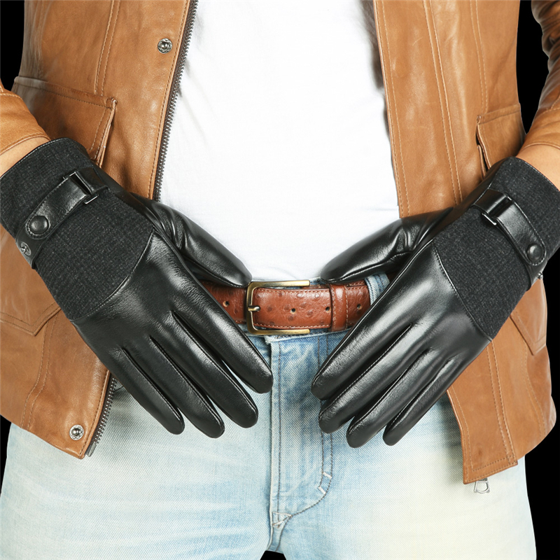 2019 New Men 39 s Genuine Leather Gloves Male Autumn Winter Plush Lined Five Fingers Touchscreen Lambskin Leather Gloves M035NC2 1 in Men 39 s Gloves from Apparel Accessories
