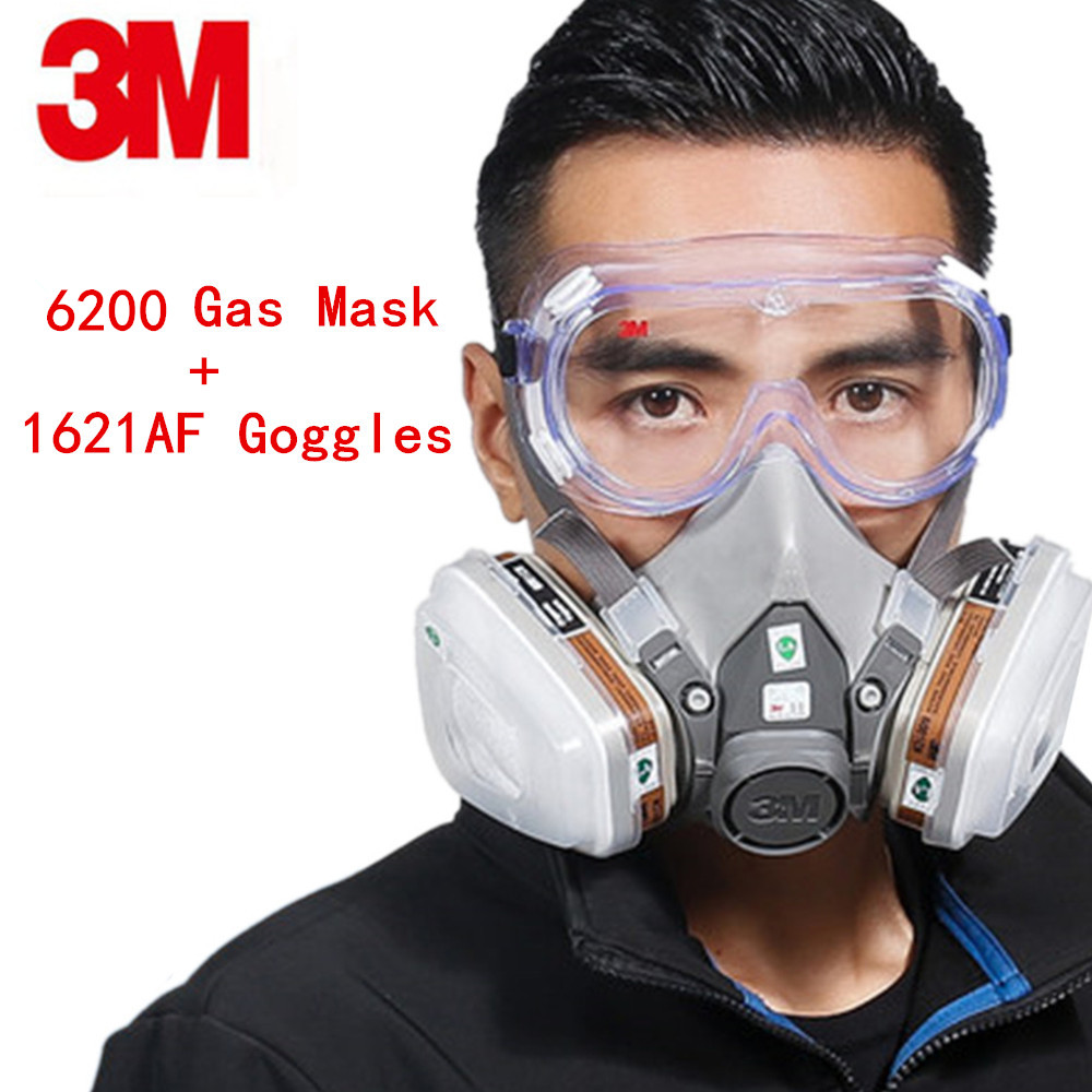 3M 6200+1621AF 8IN1Gas Mask 6001Respirator Set Mask With Goggles Anti-particulate Filters Anti-Dust Mask Anti-fog And Haze PM2.5