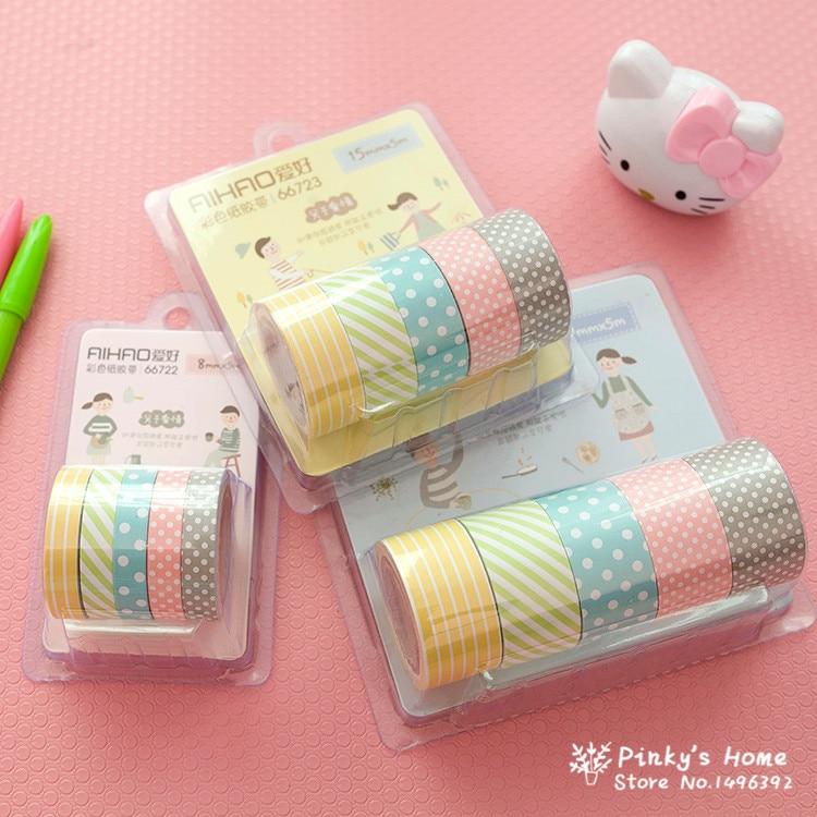 (5pcs/set) Color Paper Tapes Handmade DIY Decorative Washi Tape Colored Adhesive Tapes
