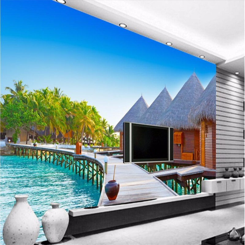 Beibehang wall paper 3d mural decor photo backdrop photo for Beach hut decoration items