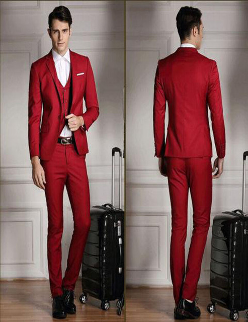 Casual Red Groom Tuxedos Business Cheap Groomsman Best Man Suit ...