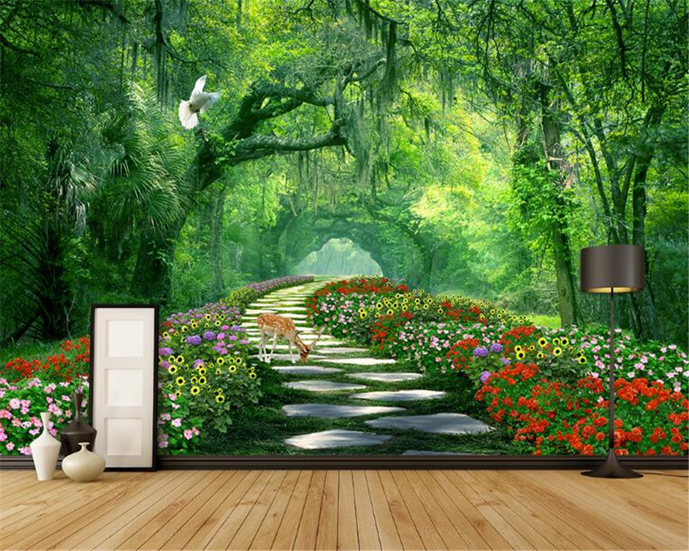 Beibehang custom wallpaper forest park shade road 3d for 3d nature wallpaper for wall