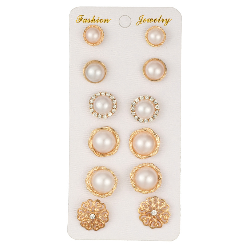 New Gold Color Flower Hollow Stud Earring Vintage Crystal Simulated Pearl Earrings Set For Women Wedding Jewelry 6 PairsSet