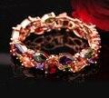 "HERMOSA 34PCS. Genuine AAA Morganite Peridot Amethyst Garnet Bracelet 8"" Free Shipping"