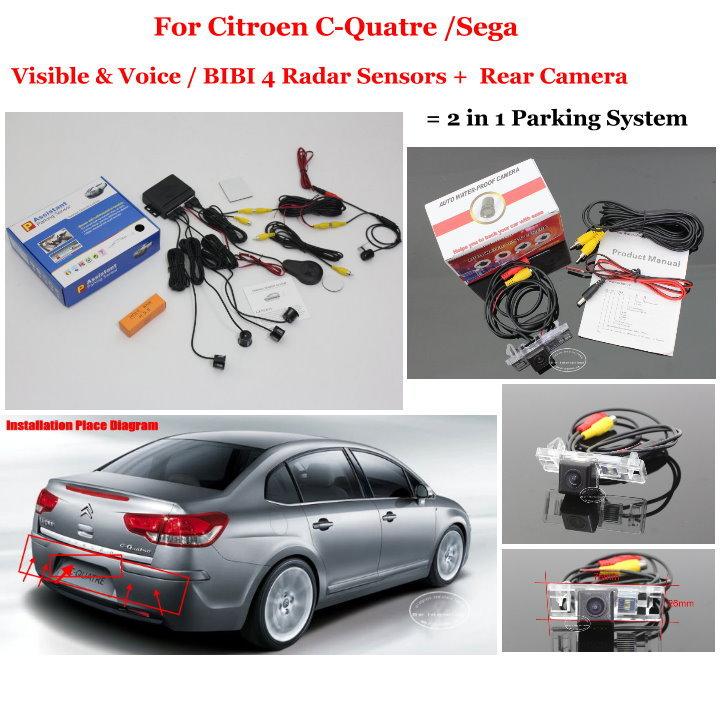 For Citroen C-Quatre / Sega - Car Parking Sensors + Rear View Camera = 2 in 1 Visual / BIBI Alarm Parking System for citroen berlingo saxo xsara car parking sensors rear view camera 2 in 1 visual bibi alarm parking system