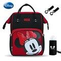 Disney 2019 Новый красного цвета с принтом «Минни-Мышь подгузников рюкзак сумка для мам Для женщин мульти-Функция подгузник детские USB, теплоизол...