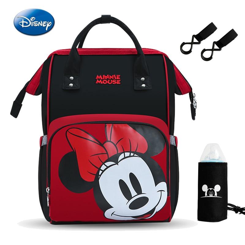 Disney 2019 nouveau rouge Minie souris couche-culotte sac à dos mère sac femmes multi-fonction Nappy bébé USB bouteille isolation sac de maternité