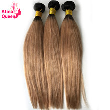 Atina Queen Twee Tone Ombre Braziliaanse Straight Hair Weave Bundels 1B/27 Remy Human Hair Extensions Donker Wortels Honing Blonde(China)