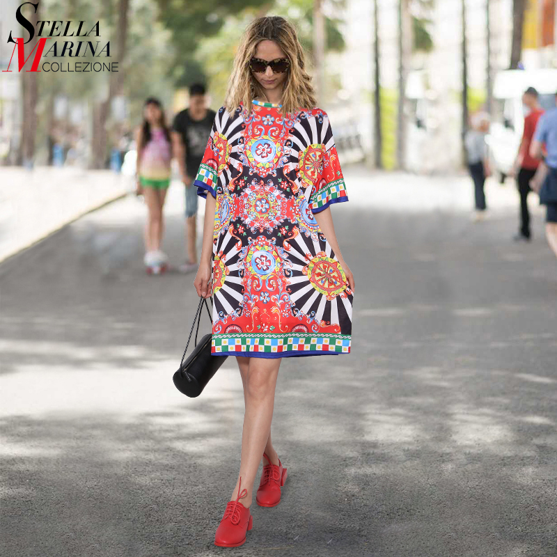 2018 Summer Women Black Floral Printed Beach Dress Short Sleeve Cute Wear Straight Sundress Midi Sun Dresses vestido Style 2162