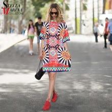 2020 sommer Frauen Schwarz Blau Floral Gedruckt Strand Kleid Plus Größe Damen Nette Gerade Sommerkleid Midi Casual Sonne Kleid Robe 2162