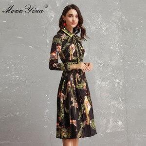 Image 4 - MoaaYina Fashion Designer Runway Dress Autumn Women Long sleeve Bowknot Animal Printed Slim Vintage Black Elegant Draped Dress