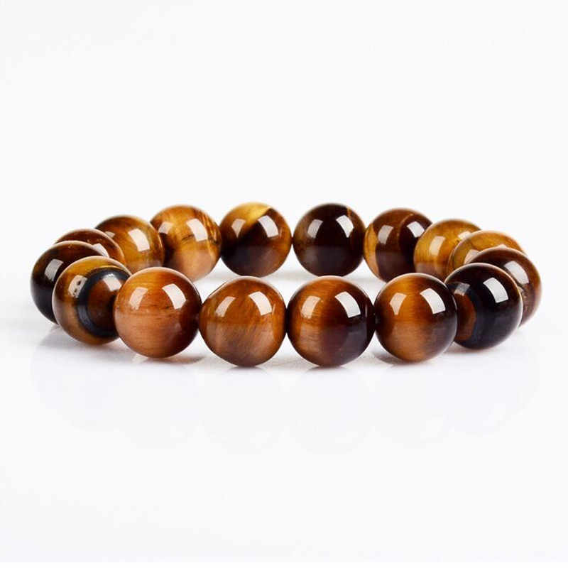GHRQX Hot Sell  Fashion jewelry 12MM Tiger eye stone beads men bracelet jewelry wholesale