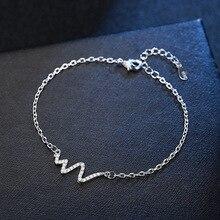 Fashion Luxury Crystal Heartbeat Women Bracelet Silver Color Electrocardiogram Charm Bangles Jewelry Wedding Bijoux
