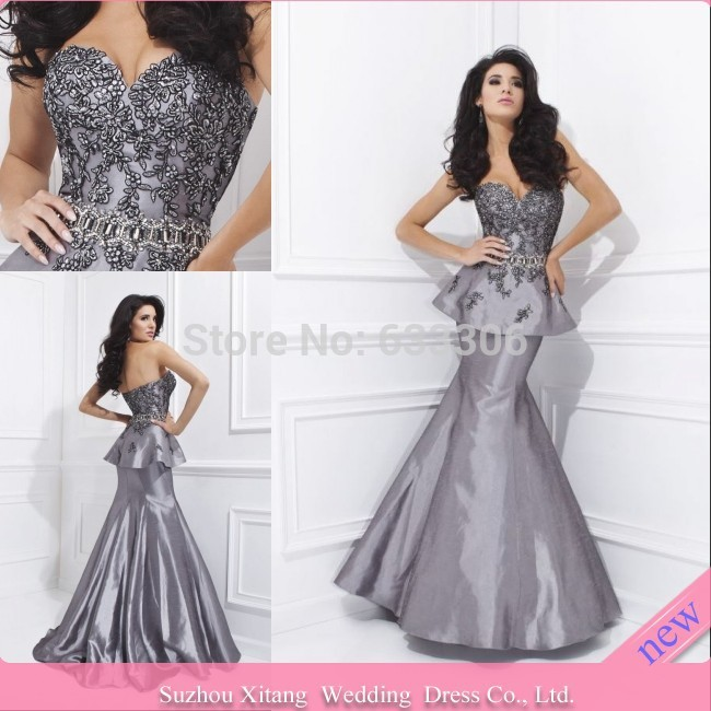 Vestido De Fiesta silvery Mermaid Sweetheart Applique Peplum Backless Floor length evening dresses Gown - Cloudup store