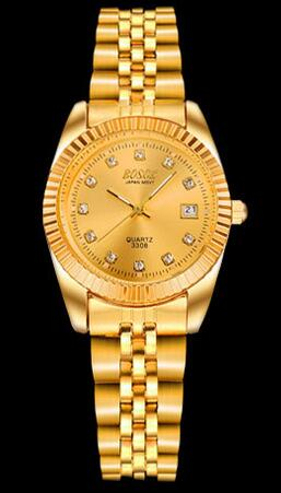 Gold men and women lovers watches, luxury watch brand, waterproof calendar women's watches, fashion women's quartz watch
