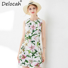Delocah Summer Women Dress Runway Fashion Sleeveless Tank Floral Printed Elegant Casual Vacation Ladies A-Line Mini Dresses blue random floral printed a line mini dress