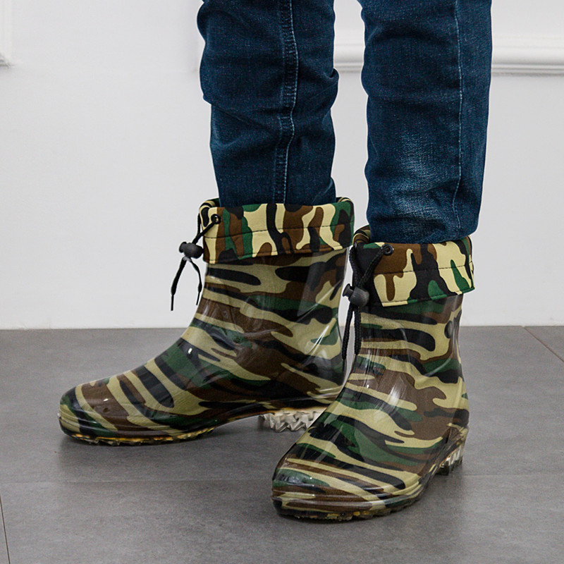 WENDYWU CHILDREN Army green RAIN boots waterproof Non slip Men water wash kitchen chef shoes work shoe boots waterproof shoes