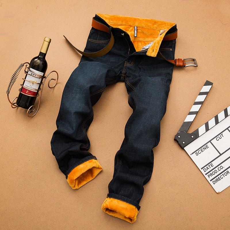 цена на SULEE Brand 2017 Winter Warm Fleece Big And Tall Pantalon Hombre Men Jeans Slim Fit Long Jeans Men