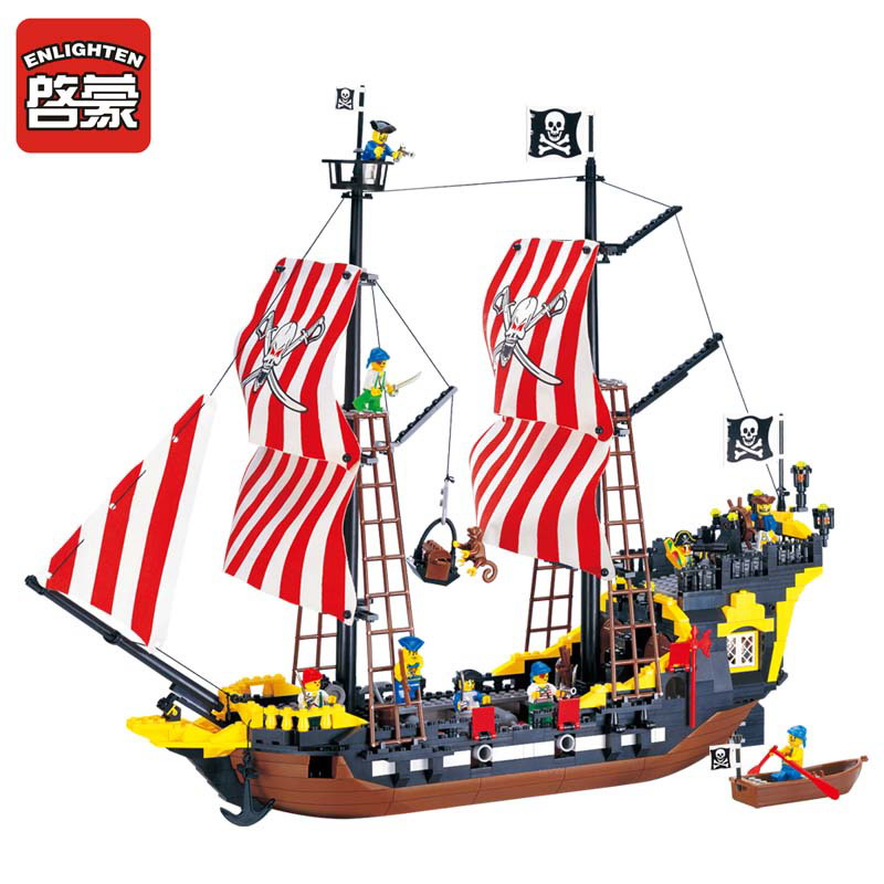 ENLIGHTEN 308 Pirate Baot Super Pirate Ship Black Pearl Figure Blocks Compatible Legoe Construction Building Toys For Children 780pcs black pearl caribbean pirate ship model building block toys enlighten 308 educational gift for children compatible legoe
