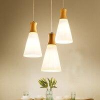 Nordic Restaurant Hanglamp Massief Houten Hanglamp Wit Glas Schaduw Opknoping Lamp Voor Coffeeshop Thuis Verlichtingsarmaturen