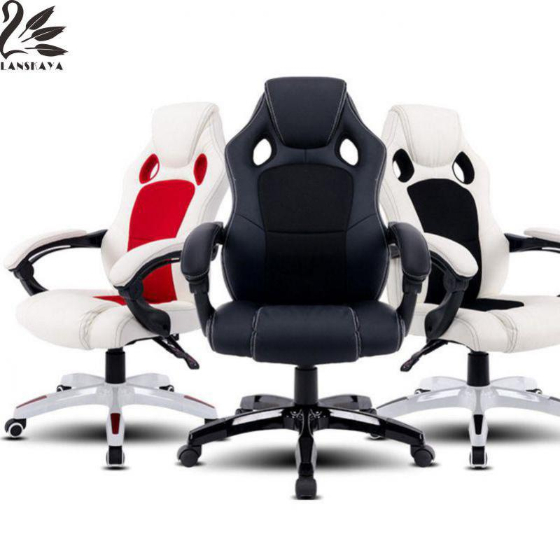 Lanskaya 2018 Ru Stock Office Chairs High Back Pu Leather Executive Desk Race Racing Ergonomic Car Style Gaming Chair racing bucket seat office chair high back gaming chair desk task ergonomic new hw54987ltbl