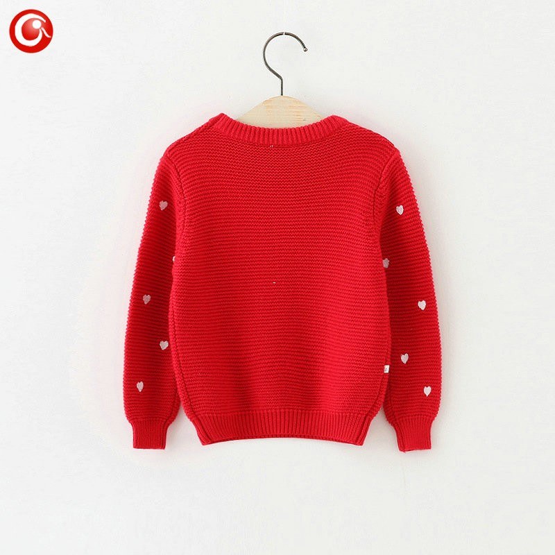 Children Girls Cardigan Heart Design Sweater Kids Long Sleeve O Neck Warm Pullover Knitted Clothes New Year Baby Clothing 2-6Y (1)
