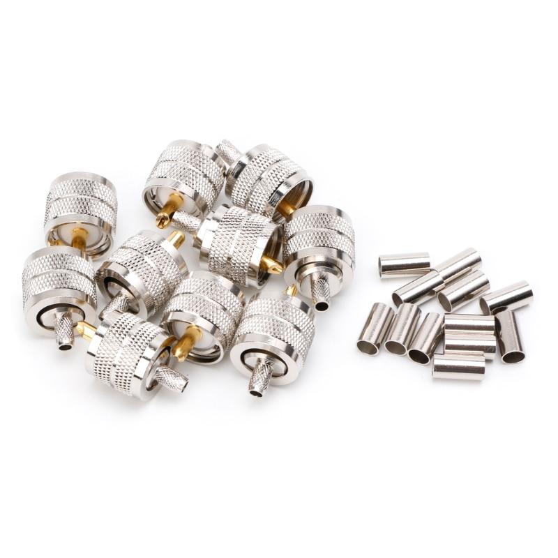 10PCS UHF Male PL259 Plug Crimp RG58/142 LMR195 RG400 Screwed Coupling Connector LS'D Tool Qiang