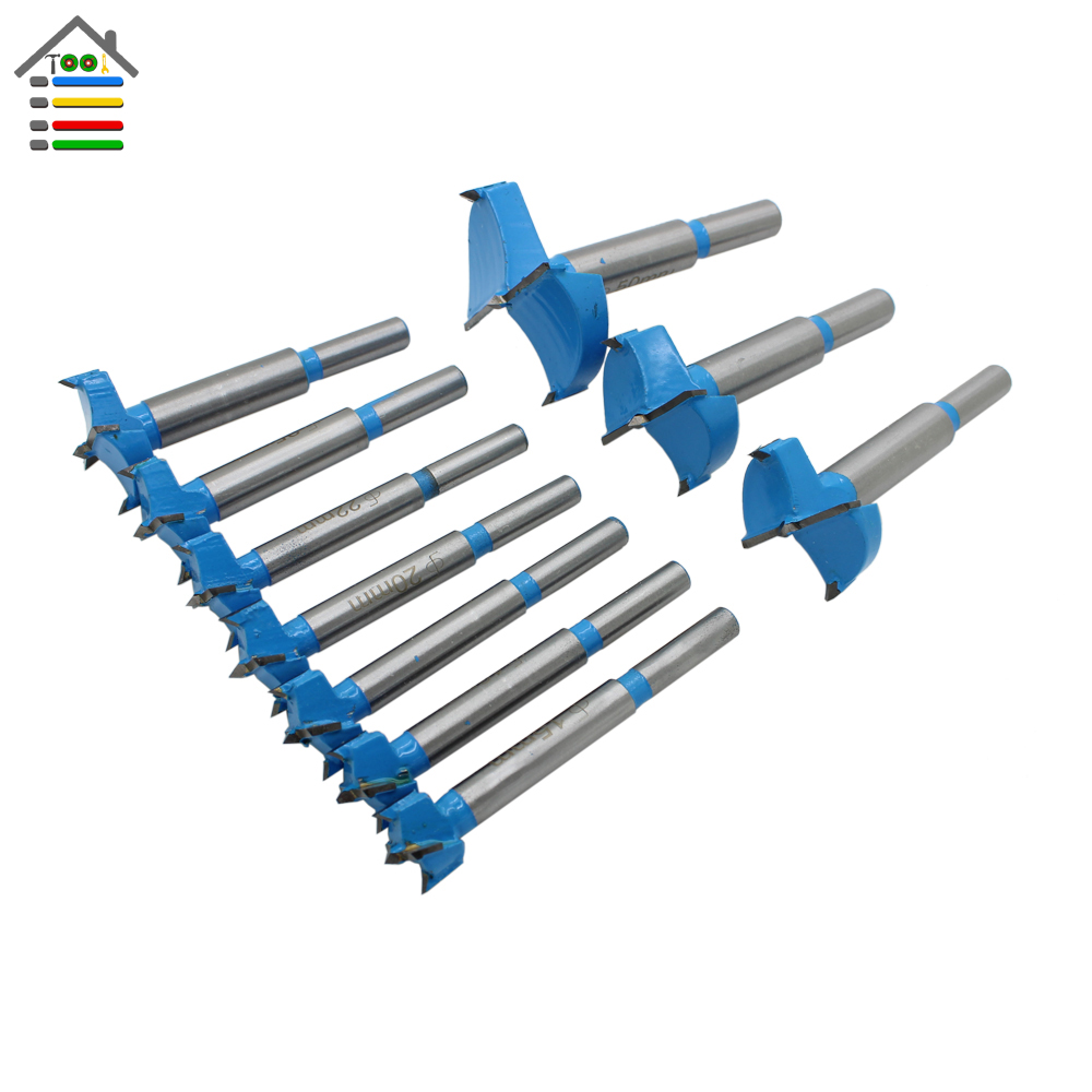 AUTOTOOLHOME 10pc Forstner Drill Bit 15-50mm Auger Drill Bits Set Wood Hole Saw  Wooden Cutter Core Drilling for Hinge Window surprise price 22mm cobalt alloys forstner drill bits set for sale