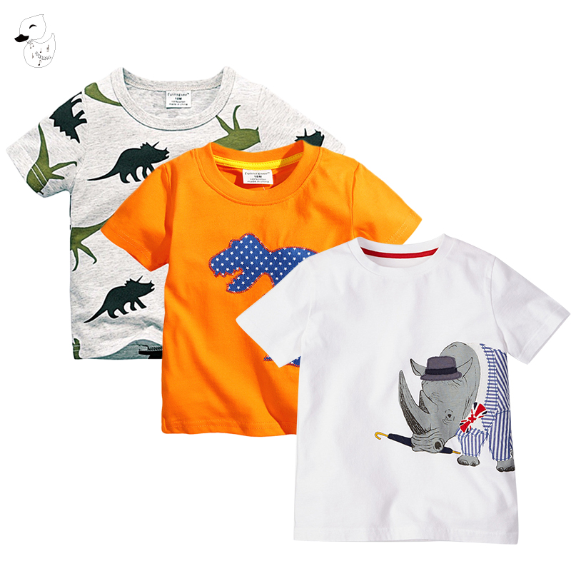 BINIDUCKLING 3pcs Baby Boys Cotton Short Sleeve T-Shirts Summer Baby Toddler Boys Clothing Dinosaur Printed T-shirt 18M 24M