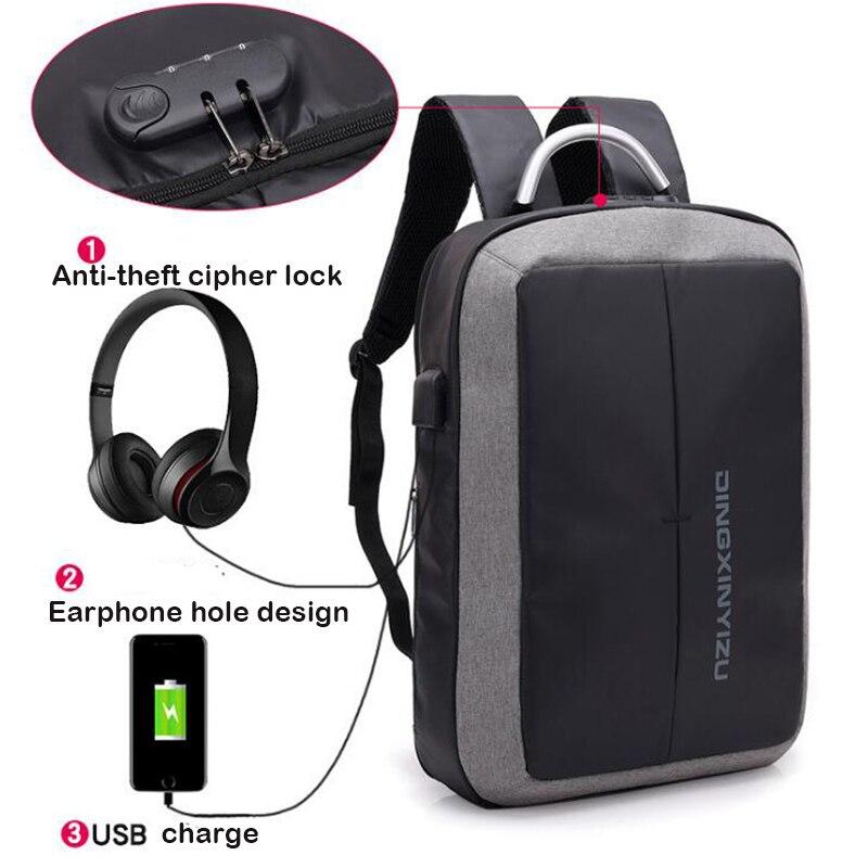 USB Charging Anti Theft Lock Bag Man USB Stick Bag Large Capacity Backpack Men Waterproof Tees Schoolbag USB Bagpack Laptop 2018