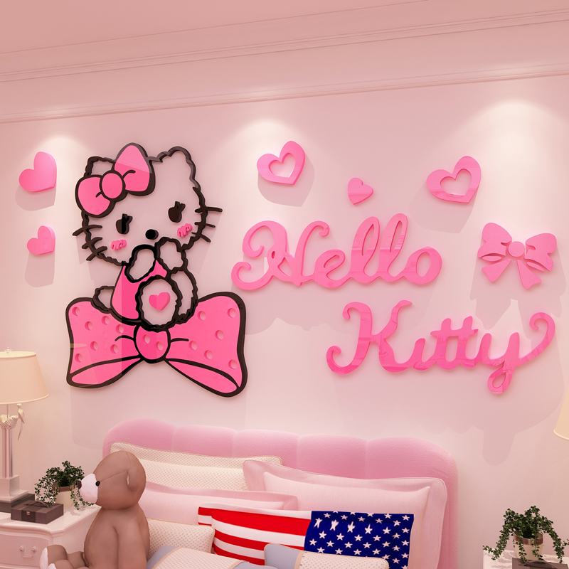Cartoon 3D Acrylic Wall Sticker Hello Kitty Wall Stickers For Kids Rooms Decoration  Chambre Fille Adesivo De Parede Infantil In Wall Stickers From Home ...