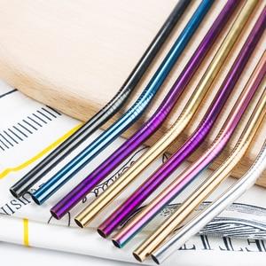 Image 4 - Красочные 304 соломинки многократного использования из нержавеющей стали прямая изогнутая металлическая трубочка для напитков с чистящей щеткой, вечерние принадлежности