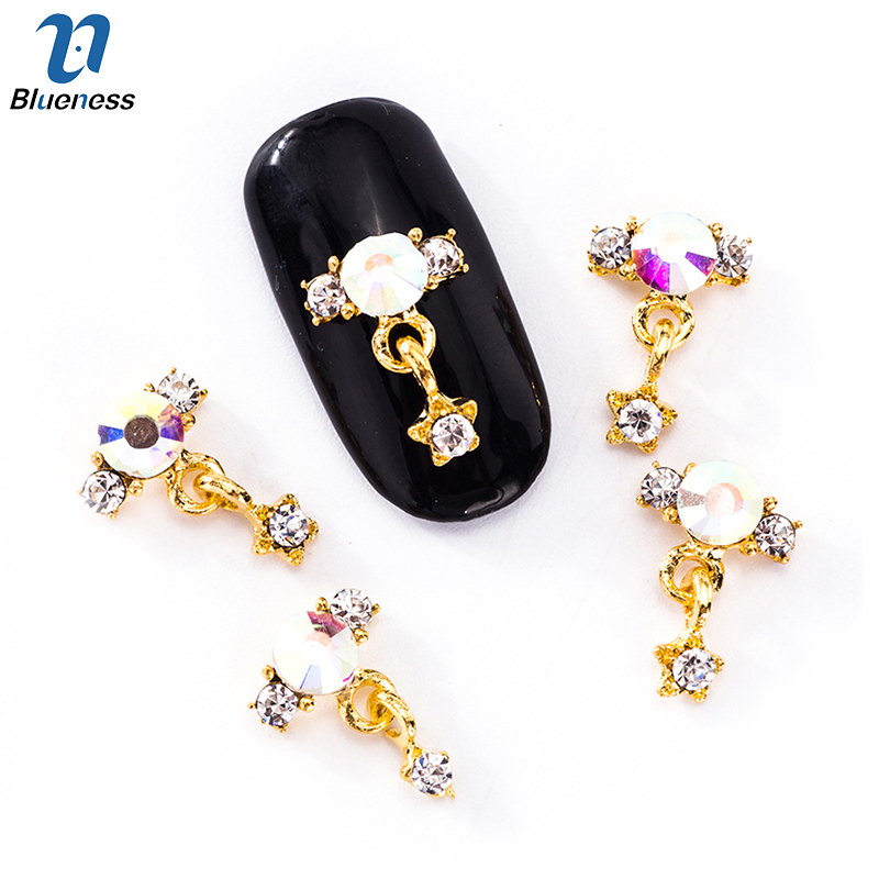 10Pcs/lot Nail Art Five-pointed Star Connection Earring Design Gold Alloy Jewelry 3D Decorations Nail Art Accessory Studs TN2032 ss16 3 8 4 0mm aquamarine color 10gross lot pointed back chaton rhinestone for jewelry accessory free shipping