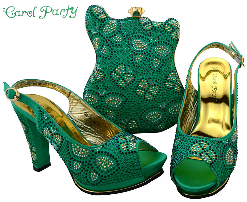 Water Green Fashion Style Shoes and Bag Set Decorated with Rhinestone Nigerian Shoes and Bag Set for Women Italian Design BCH-35