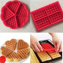 Silikon Waffle kalıp mikrodalga pişirme çerez kek Muffin Bakeware 2 şekil kalıp pişirme araçları mutfak aksesuarları malzemeleri