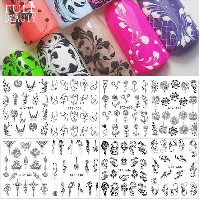 Full Beauty 1pcs Fantasy Nail Art Water Sticker Black Simple DIY Model Manicure Foils Nail Decorations Nail Tool