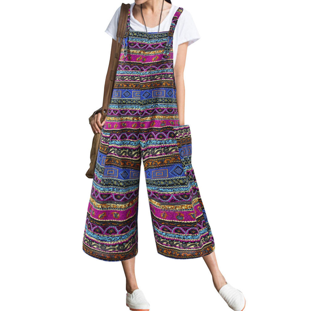 Women's Pockets Print Cotton And Linen Sleeveless Loose Wide foot Long Rompers   Jumpsuit