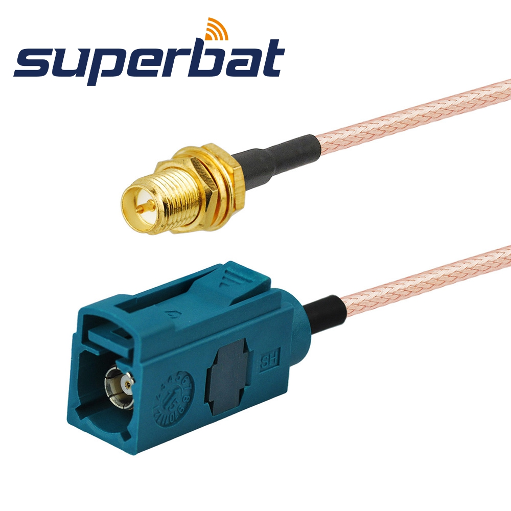 Superbat RF Coaxial Cable Universal Fakra Female Z to RP-SMA Female(plug in) pigtail wifi router extension cable RG316 15cm