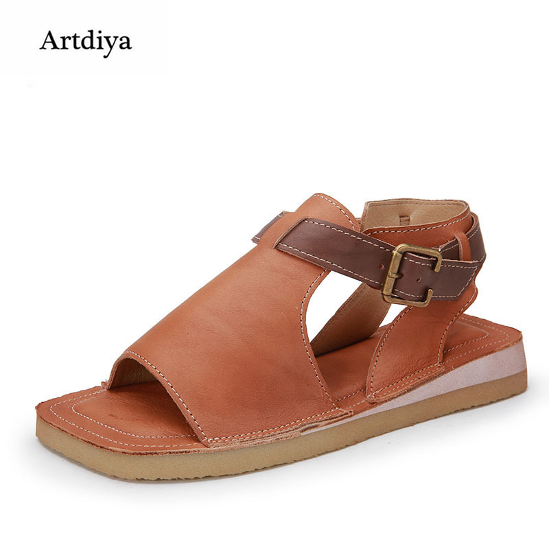 Artdiya Summer New Flat Women Shoes Retro Solid Color Genuine Leather Buckle Leisure Peep Toe Sandals Beach Sandals 7557 2017 new summer fashion women casual shoes genuine leather lady leisure sandals gladiator all match ankle peep toe flowers