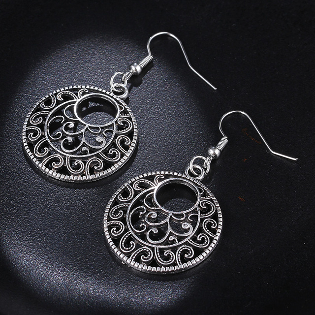 RscvonM New Boho Vintage Tibetan Silver Round Ear Hook Tribal Earrings Retro Big Flower Long Hanging Earrings Statement Jewelry 4