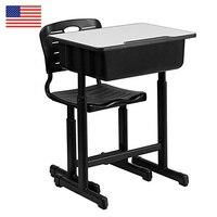 Регулируемый для учеников стол и стулья черный набор детской мебели