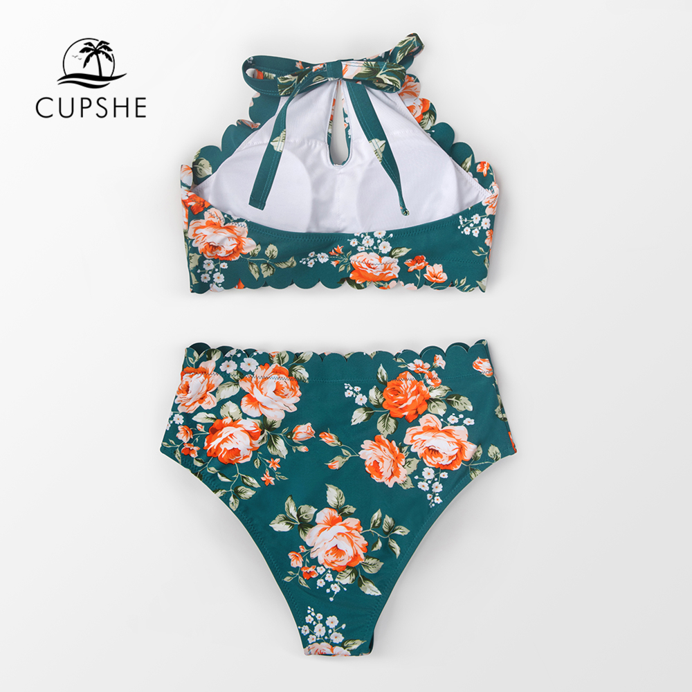 Image 4 - CUPSHE Green Floral Halter Bikini Sets Women Sexy High Waist Two Pieces Swimsuit 2019 Girl Boho Bathing Suits-in Bikinis Set from Sports & Entertainment
