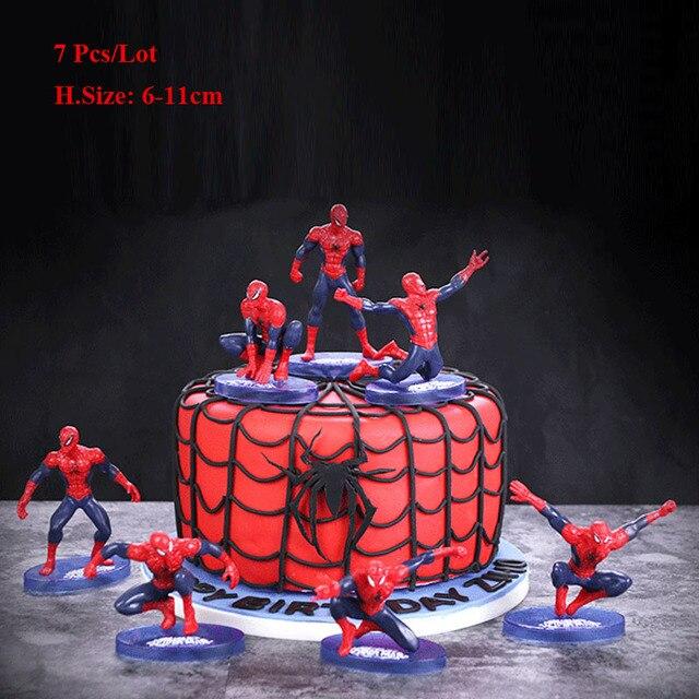 Spiderman brinquedos bolo topper do bolo brinquedo das crianças das crianças decoração da festa de aniversário favores do partido chapéus de coco do queque do miúdo brinquedos do homem aranha