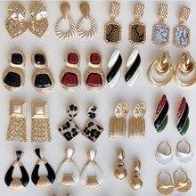 Best lady ZA Fashion Gold Color Stud Earrings For Women Vintage Wedding Party Metal Bohemian Stateme