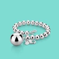 Woman 925 Sterling Silver Bracelet Ethnic The Ball Pendant Beaded Bracelet Lady Charm Silver Jewelry 20cm