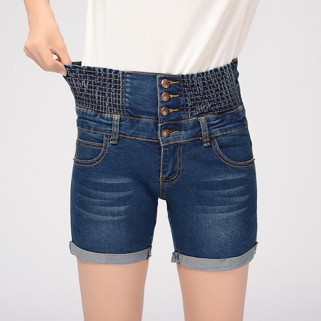 Tamaño 26-40 cintura alta denim shorts mujer verano marea floja cintura elástica yardas grandes de grasa mm fina nuevos cortos