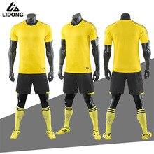 Футбольные наборы LIDONG для взрослых мальчиков футбольное Джерси Униформа футбольные тренировочные костюмы желтая спортивная одежда из полиэфира короткий рукав