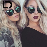 DOLCE VISION Cat Eyes Women's Sunglasses Women Summer Style Vintage Sun glasses Woman Frame 2017 New shades metal frame Oculos