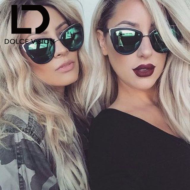 3a06ba30206 DOLCE VISION Cat Eyes Women s Sunglasses Women Summer Style Vintage Sun  glasses Woman Frame 2018 New shades metal frame Oculos