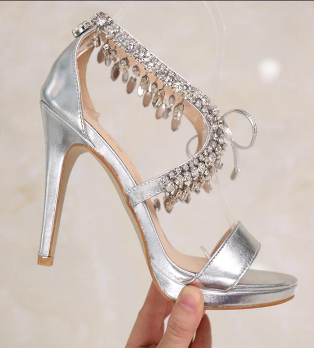 Sexy Lady Cross Strap Diamond Tassel Rhinestone High Heel